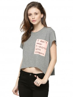 Spring Break Text Pocket Print Crop T-shirt