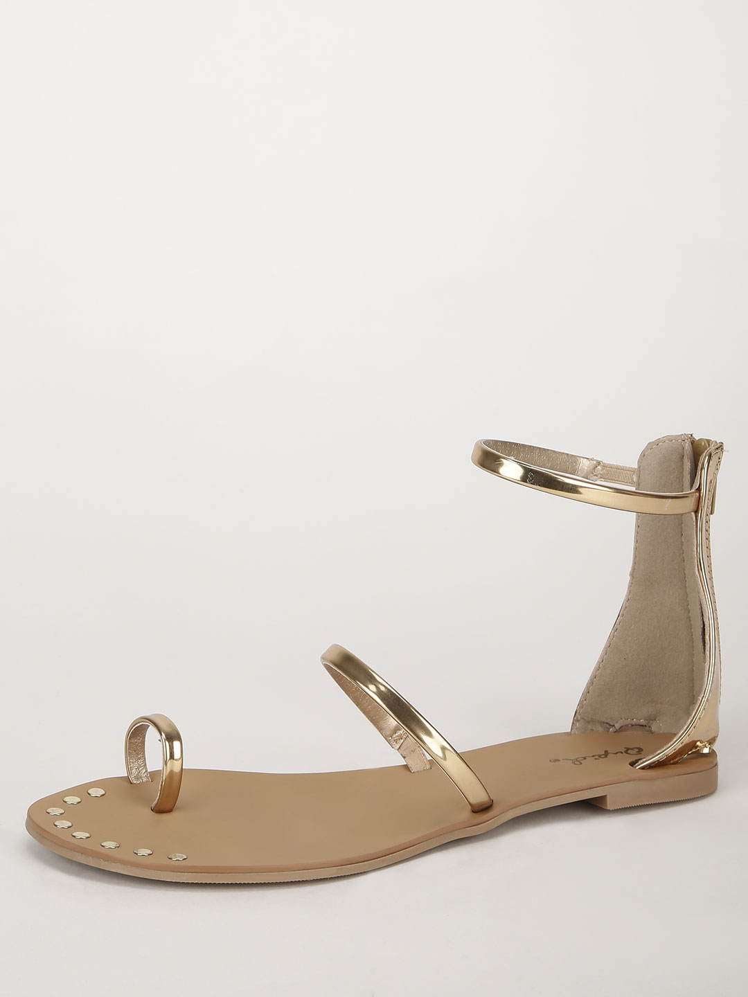 Qupid Gold Barely There Flat Sandals 1
