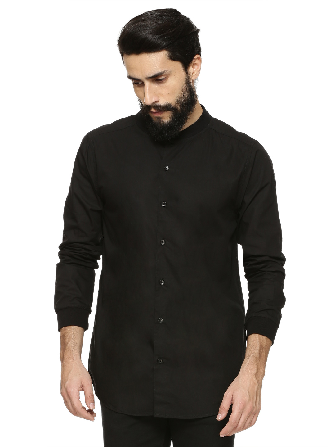 KOOVS Black Baseball Shirt 1