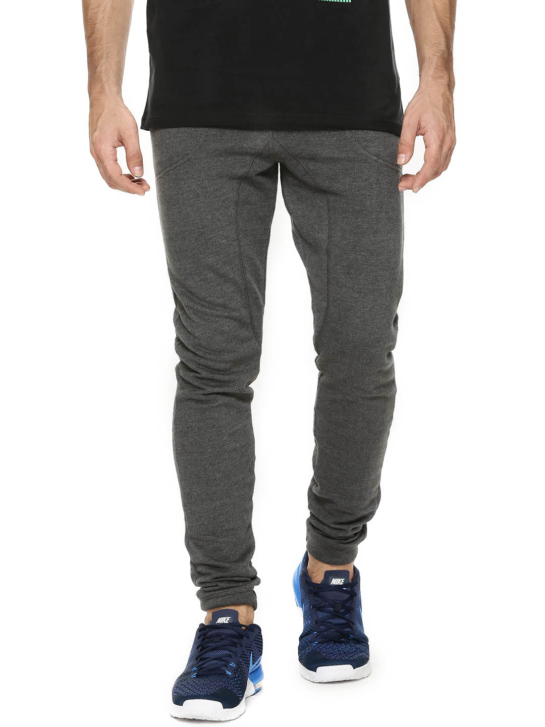 Breakbounce ANTHRA MELANGE/BLACK Cuffed Joggers With Cut & Sew 1