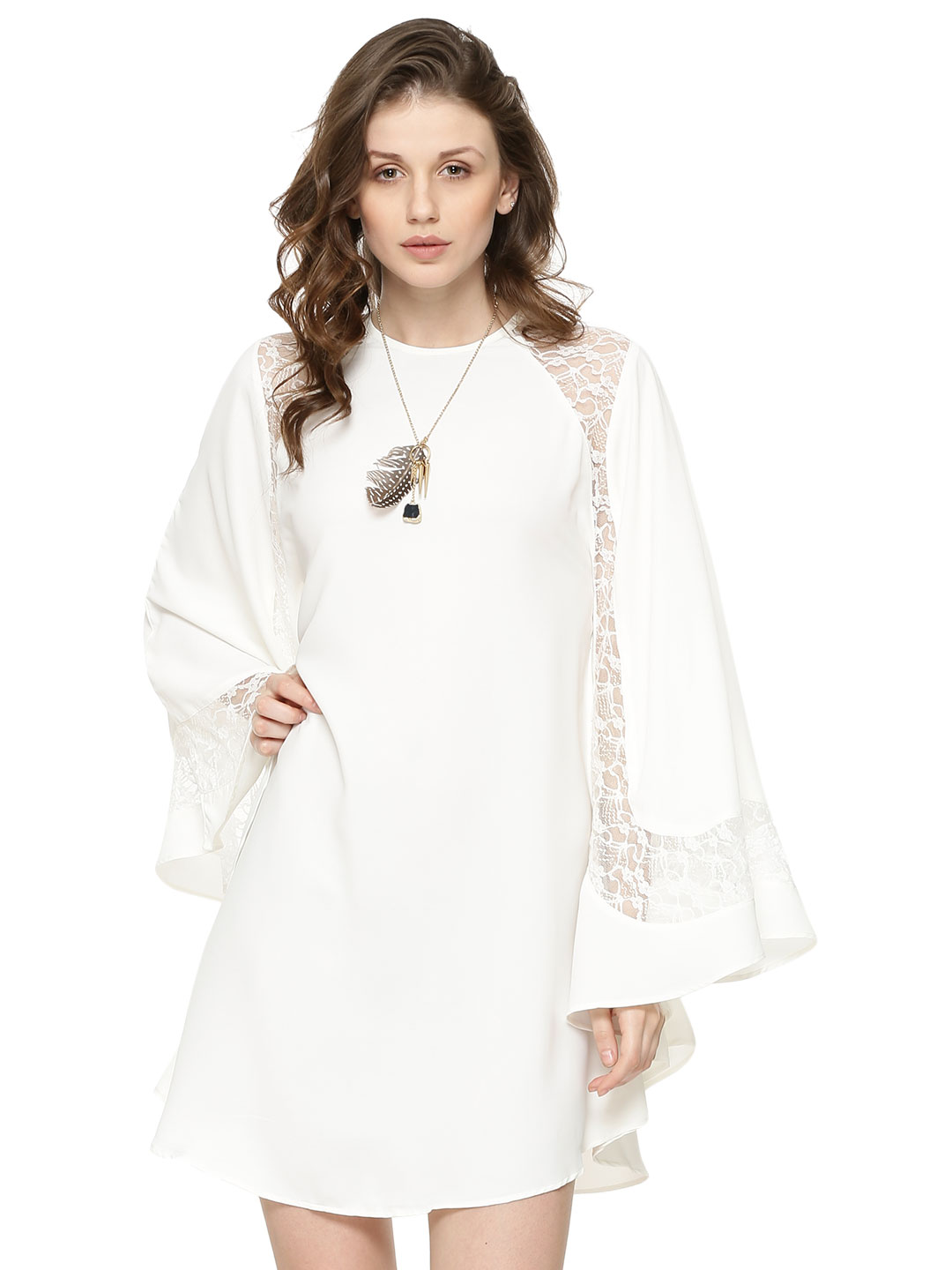 Oliv Lace Insert Poncho Dress...