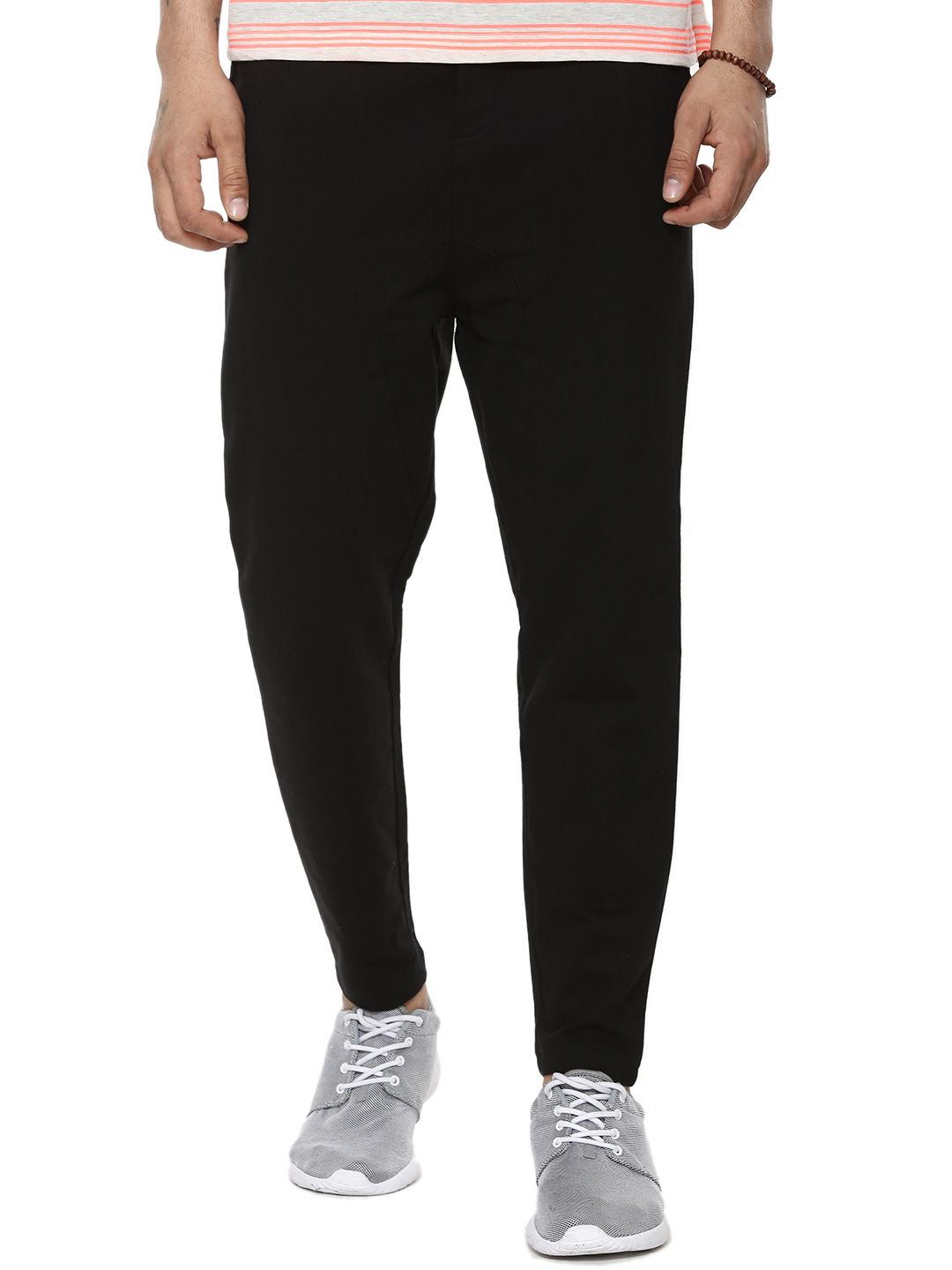 KOOVS Black Drop Crotch Jog Pants 1