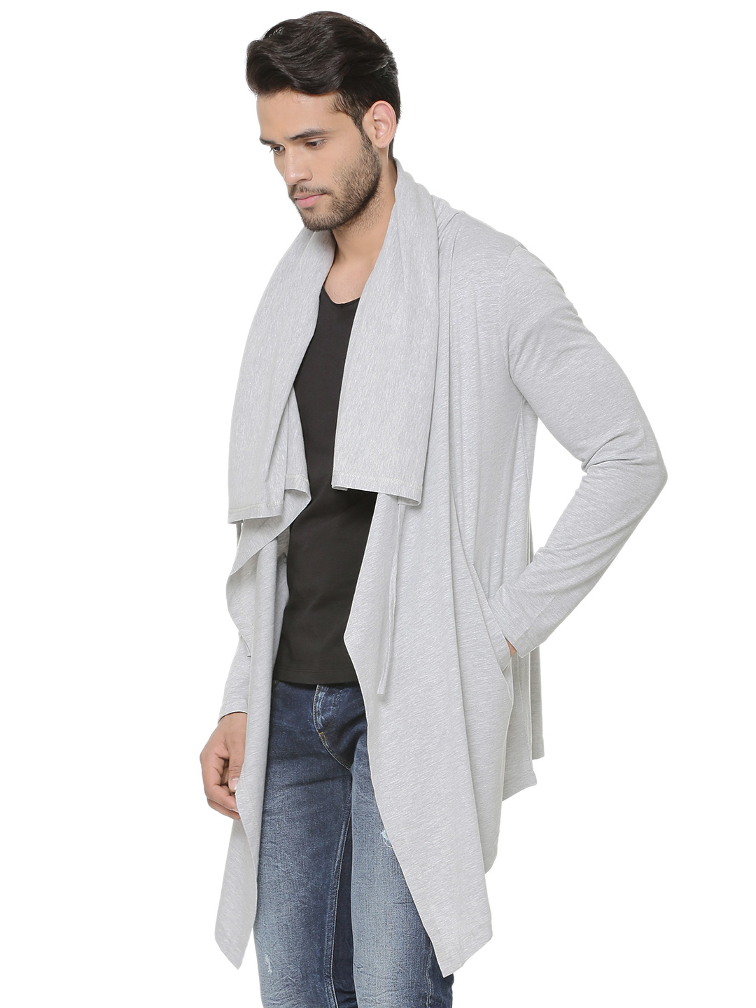 KOOVS Long Line Hooded Cardiga...