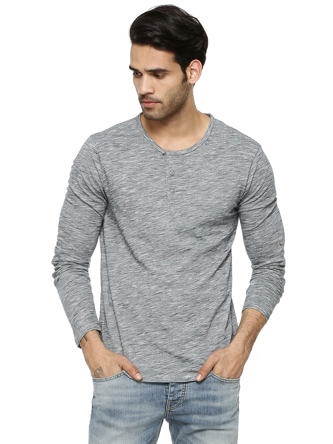 Voi Jeans Space Dyed Henley In...