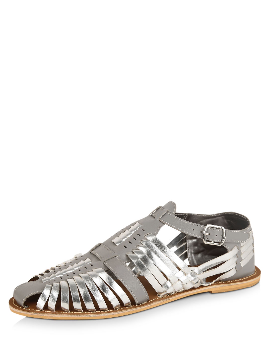 KOOVS Silver Woven Buckle Shoes 1