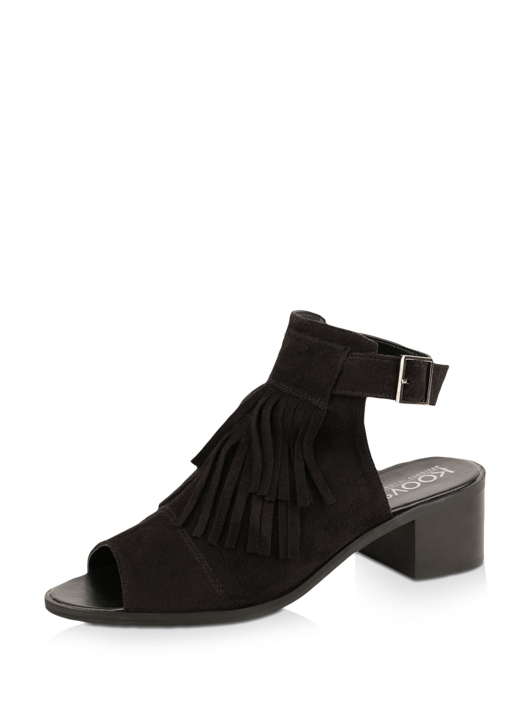 KOOVS Black Fringed Front Sandals On Low Block Heels 1