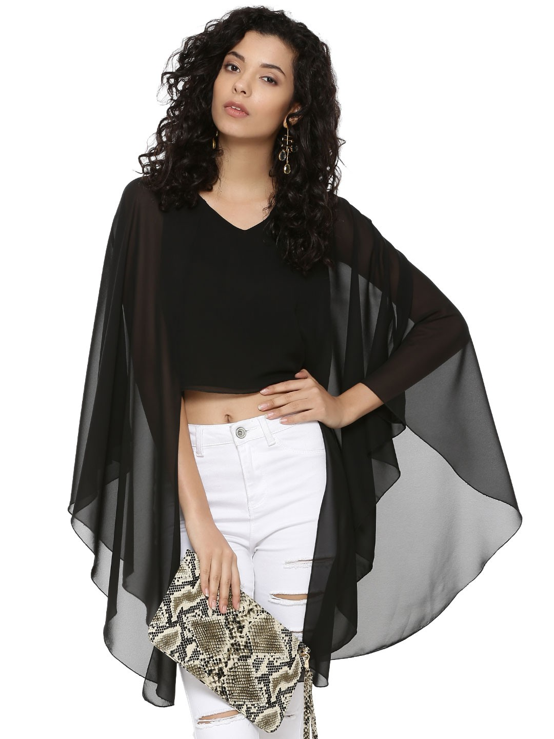 KOOVS Black Sheer Cape Overlay Crop Top 1