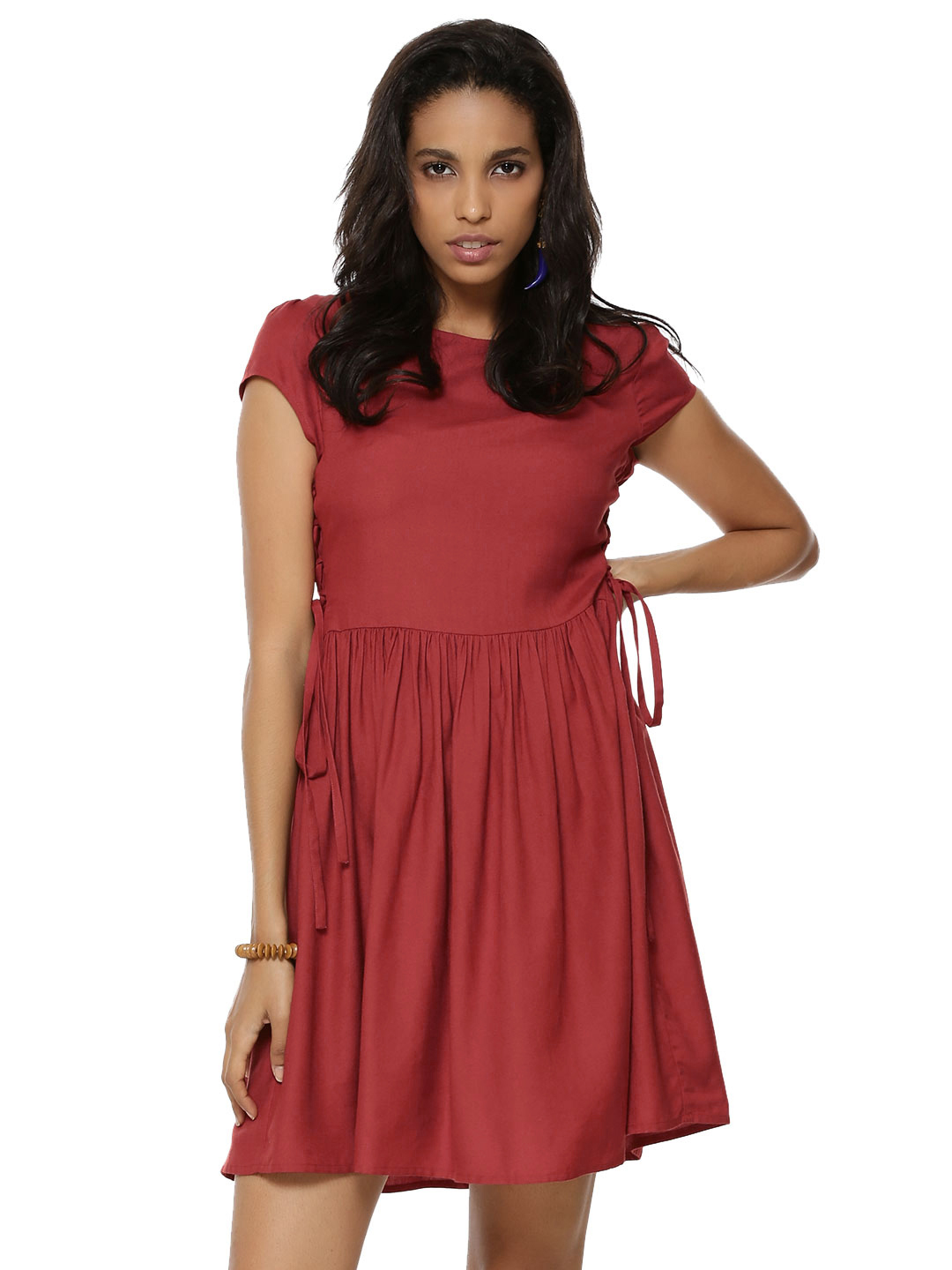 KOOVS Red Side Lace Up Tie Skater Dress 1
