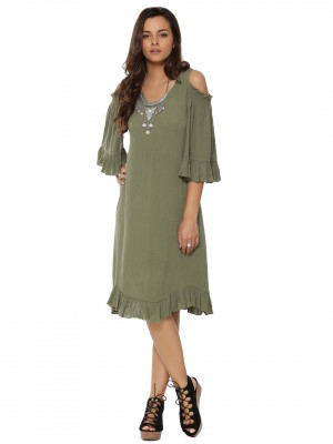 KOOVS Frill Sleeve Cold Should...
