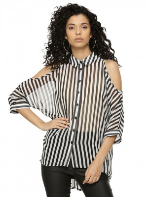 AX PARIS Striped Cut Out Shoul...