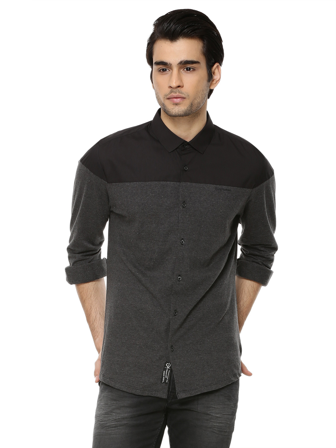 Being Human dk grey Knitted Shirt With Woven Contrast Yoke 1