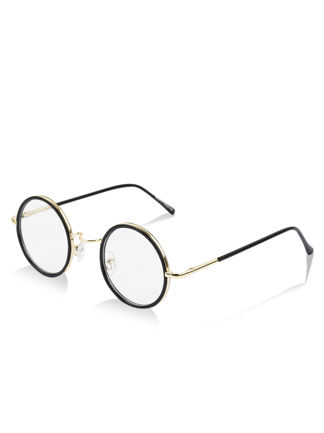 Pataaka Black and Gold Round Frame Clear Glasses 1