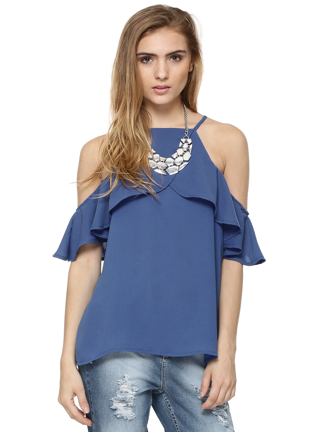 Noble Faith Blue Cold Shoulder Ruffle Top 1