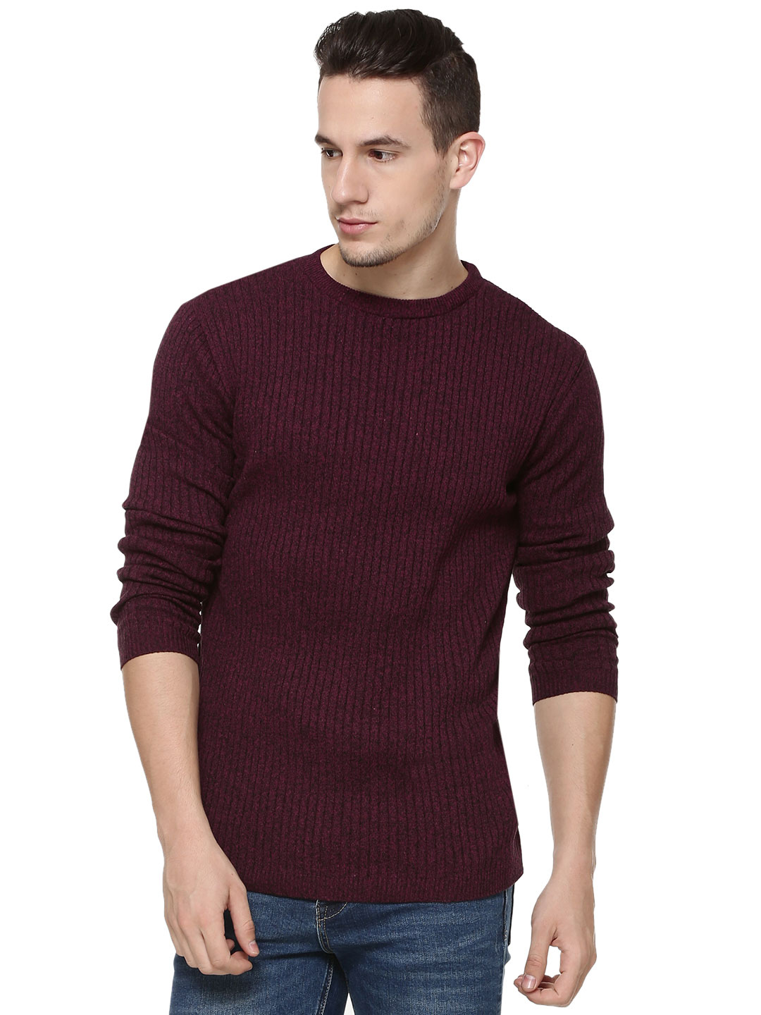 New Look Red Ribbed Pullover 1