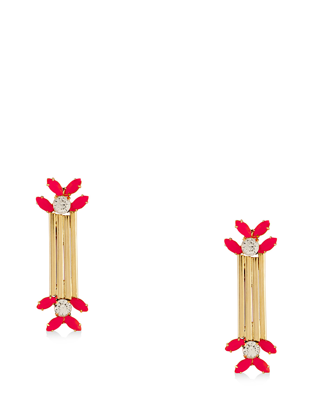 Gold Digger Gold/Red Diamante Earrings 1