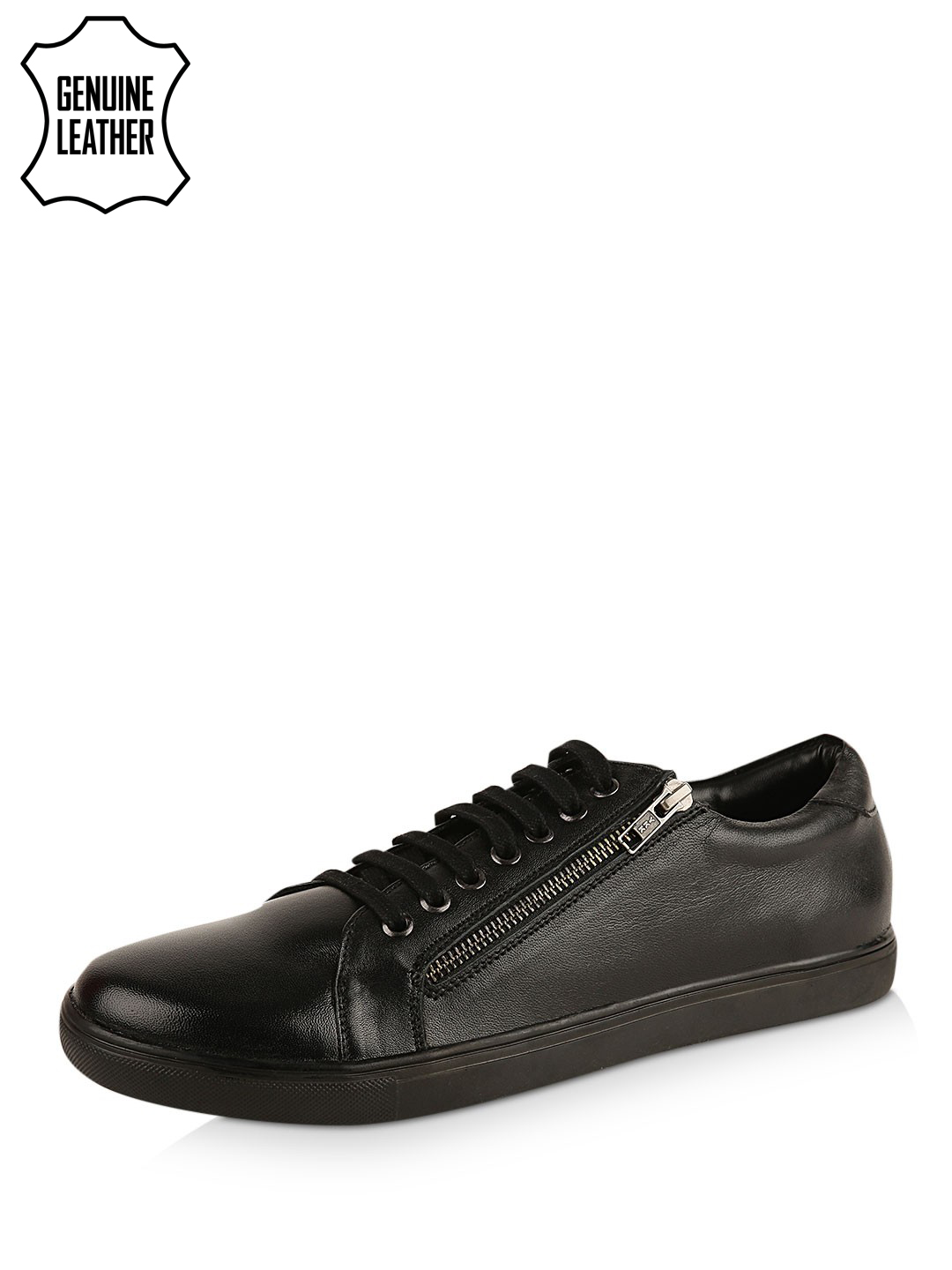 Griffin Black Leather Sneakers With Side Zipper 1