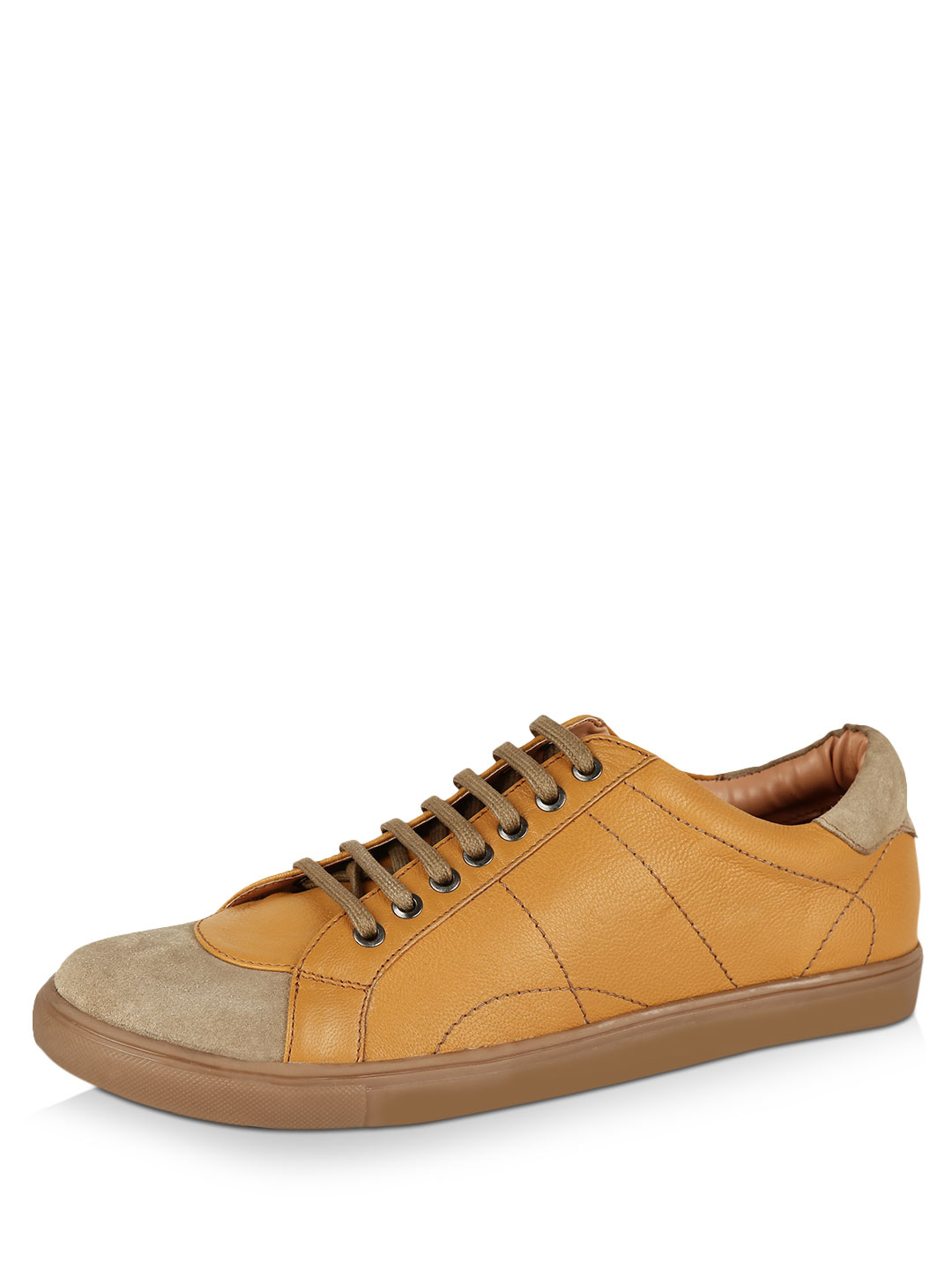 Griffin Camel Mix Media Lace-up Plimsolls 1