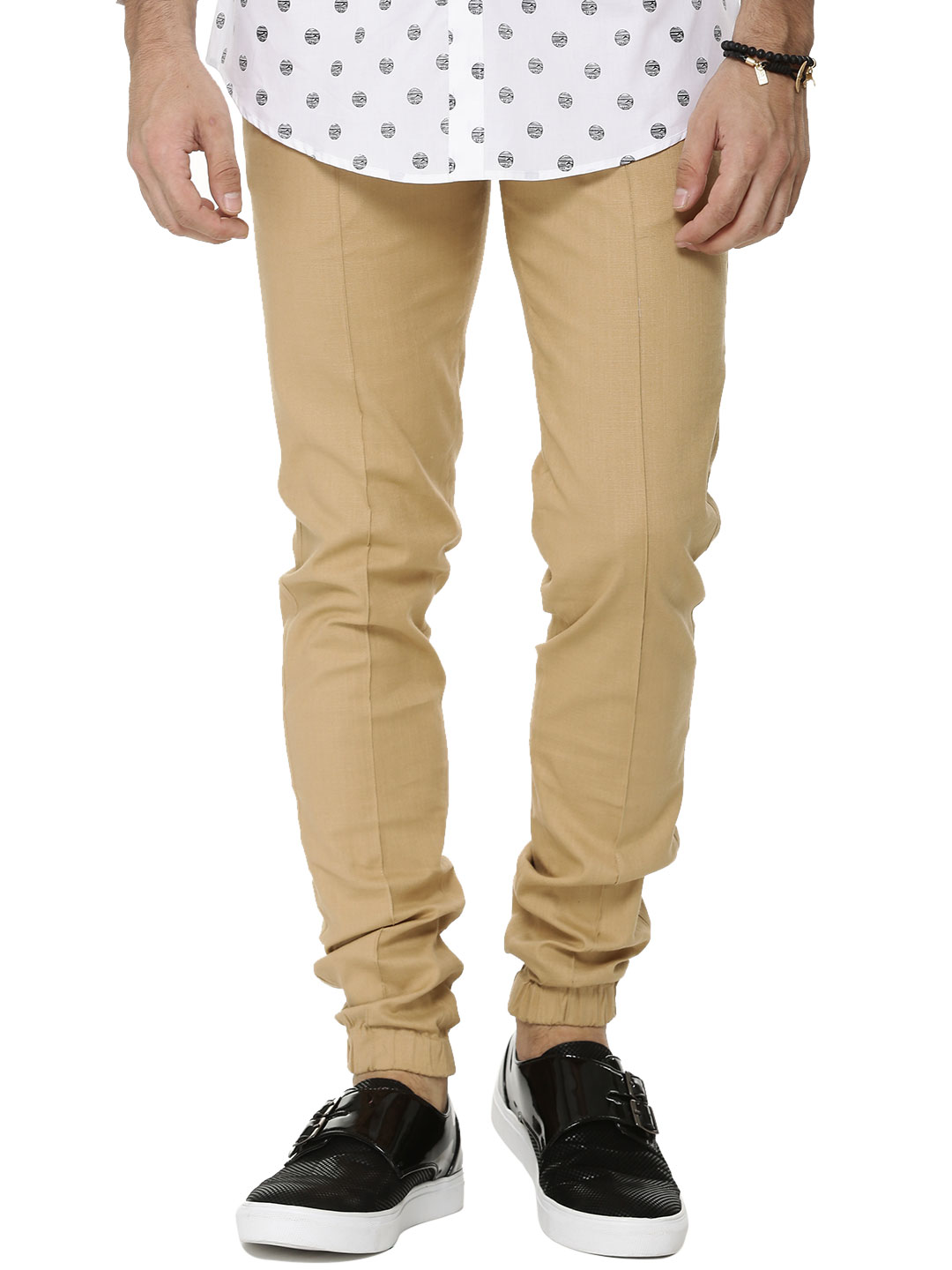 Mr Button Beige Cuffed Linen Trousers With Pocket Detail 1