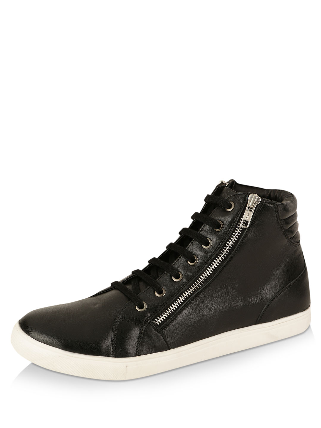 Griffin Black Leather Hi Top Sneakers with Side Zip Detailing 1