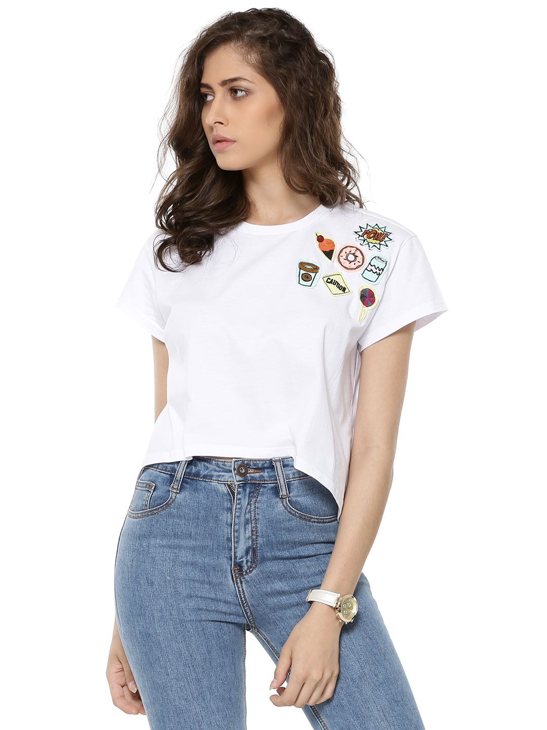 Spring Break White Quirky Patched T-shirt 1