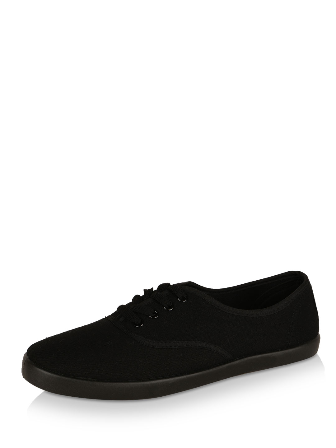 New Look Black Lace Up Trainers 1
