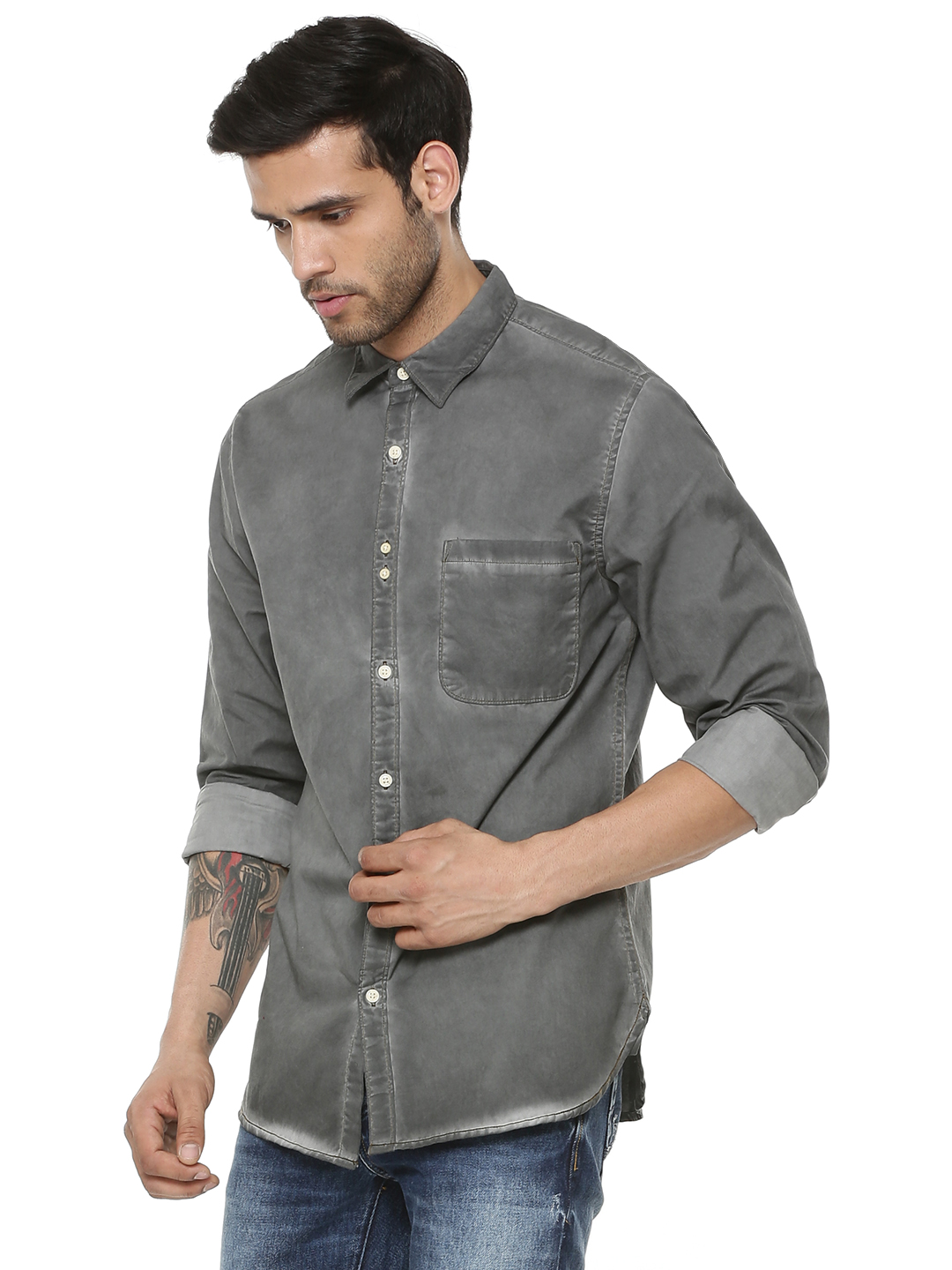 Blue Saint GREY WASHED Oil Washed Shirt 1