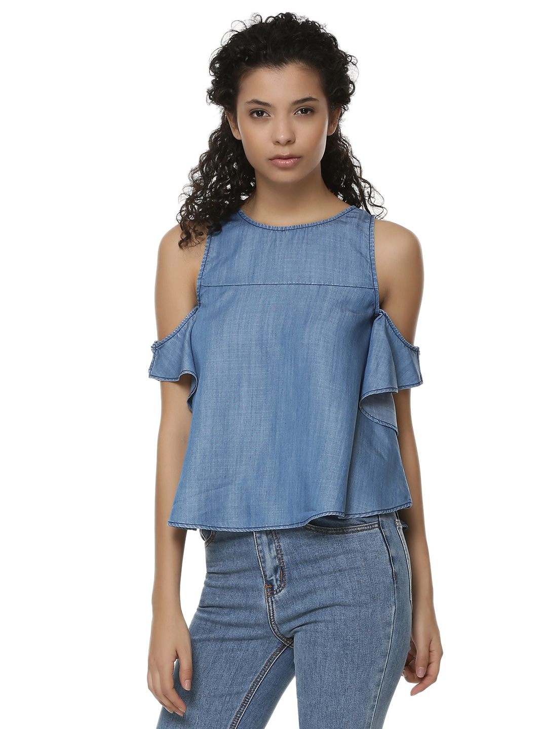 Sbuys Blue Button Up Cold Shoulder Top 1