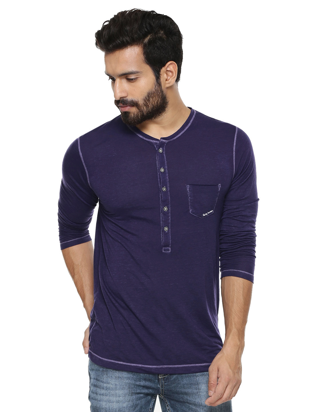 Being Human DK PURPLE Henley With Patch Pocket 1