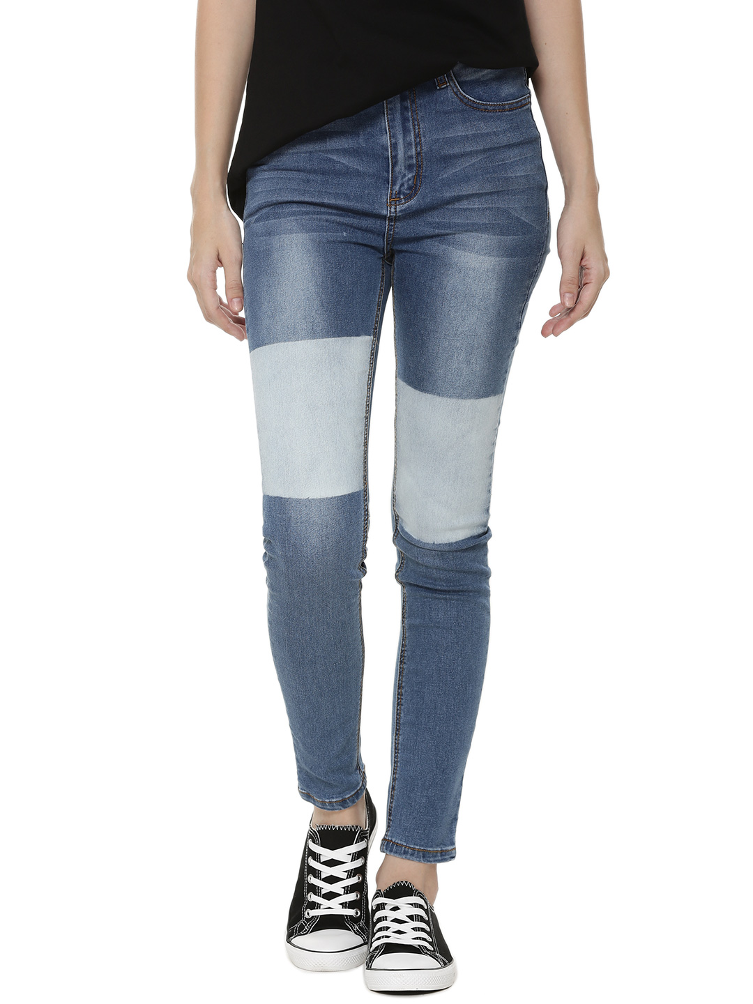 Momokrom Blue Faded Patch Skinny Jeans 1