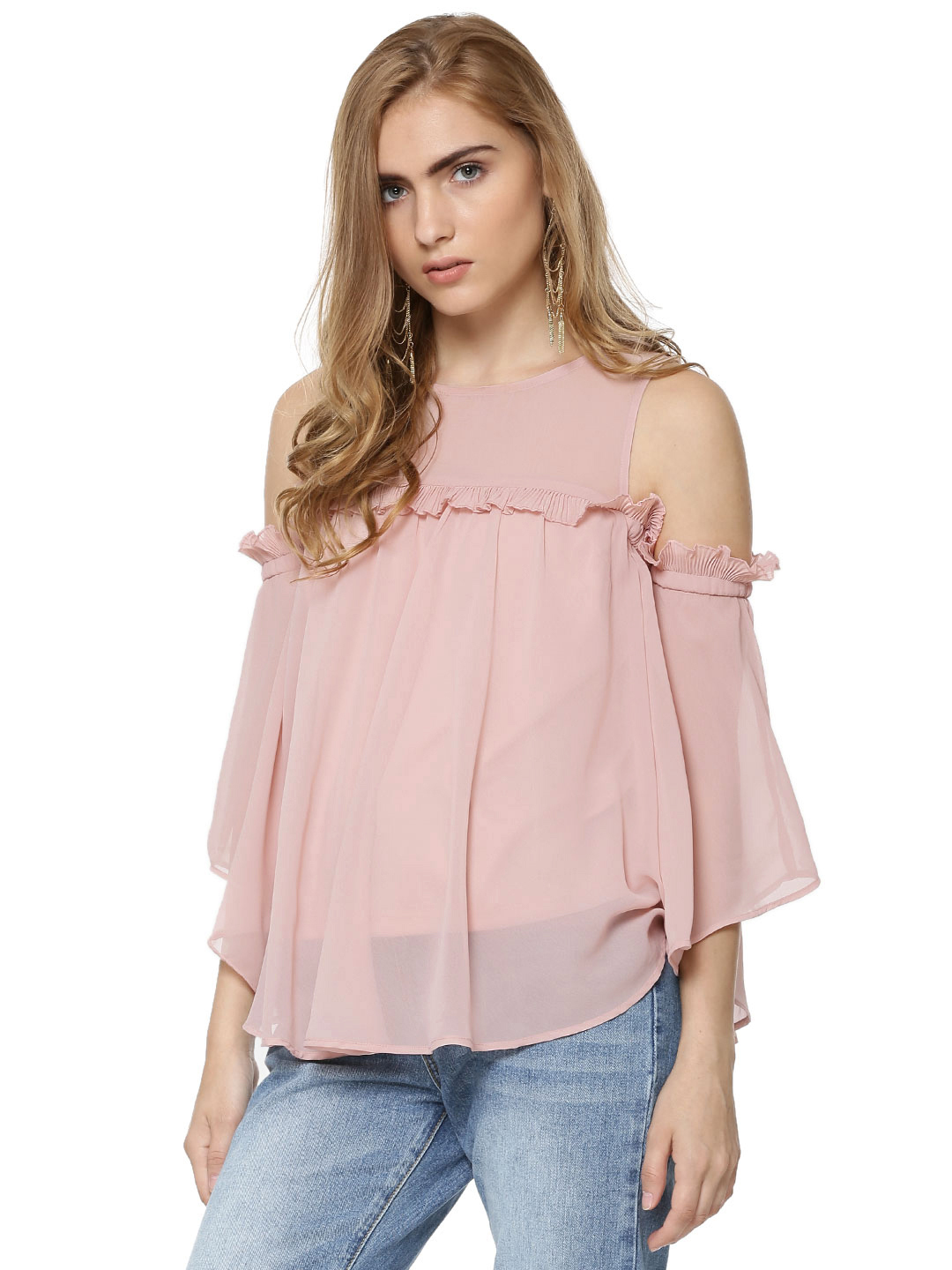 Ri-Dress Pink RIDRESS Ruffle Cold Shoulder Top 1