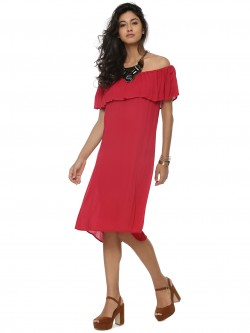 Evah London EVAH Ruffled Off Shoulder Dress