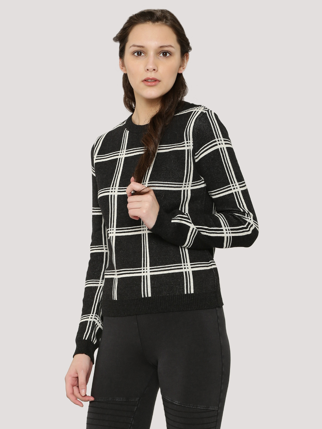 KOOVS Black/Ivory Check Crew Neck Jumper 1