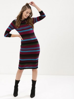 KOOVS Striped Bodycon Midi Dre...