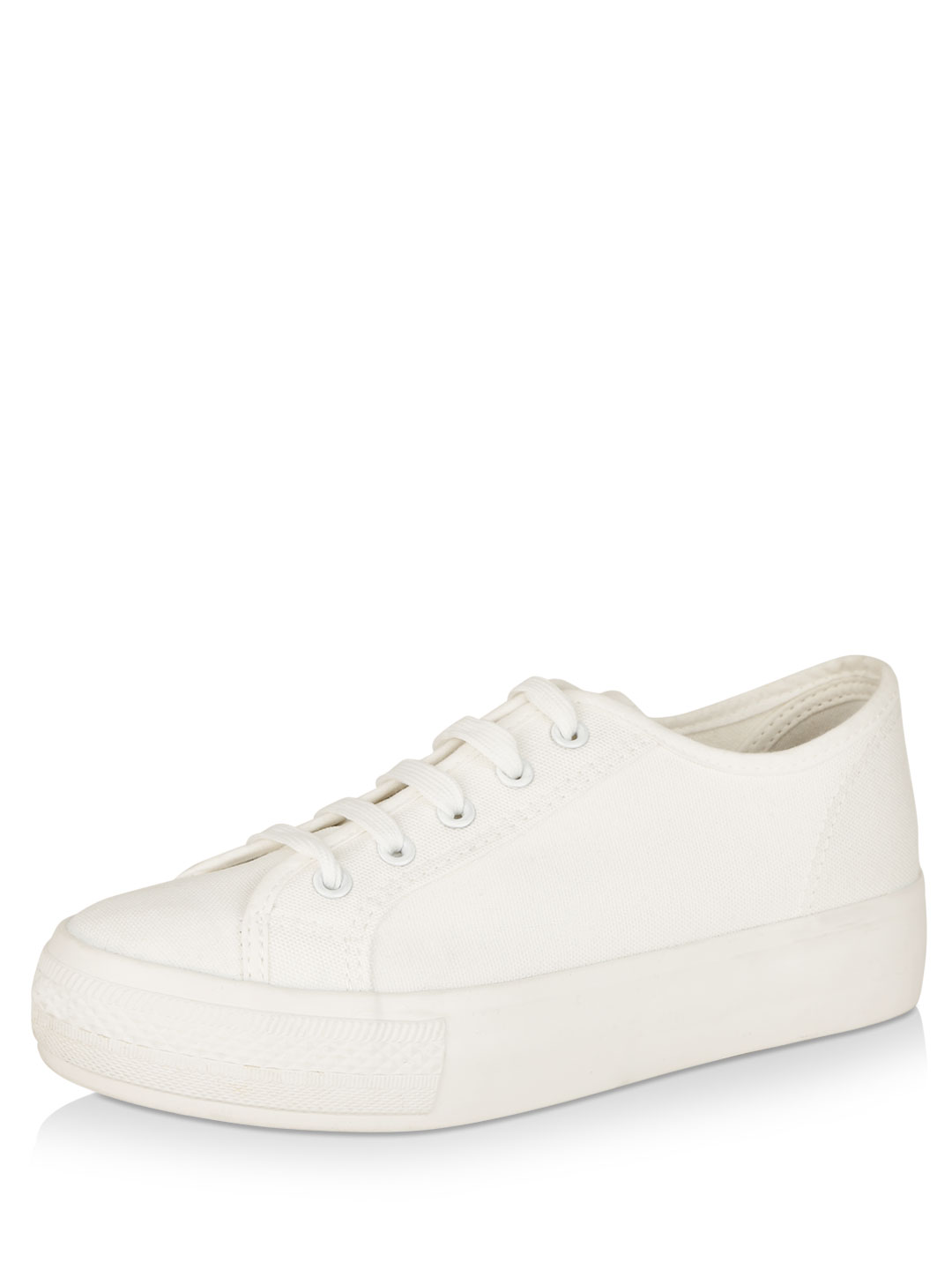 New Look White Double Sole Lace Up Trainers 1