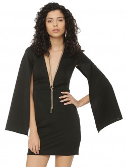 Rare Cape Sleeve Plunge Mini Dress
