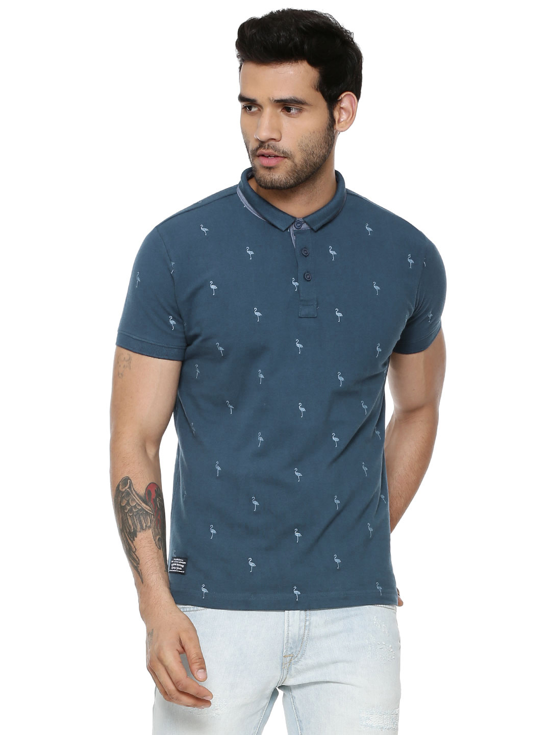 Pepe Jeans DK-DENIM Embroidered Polo In Slim Collar 1