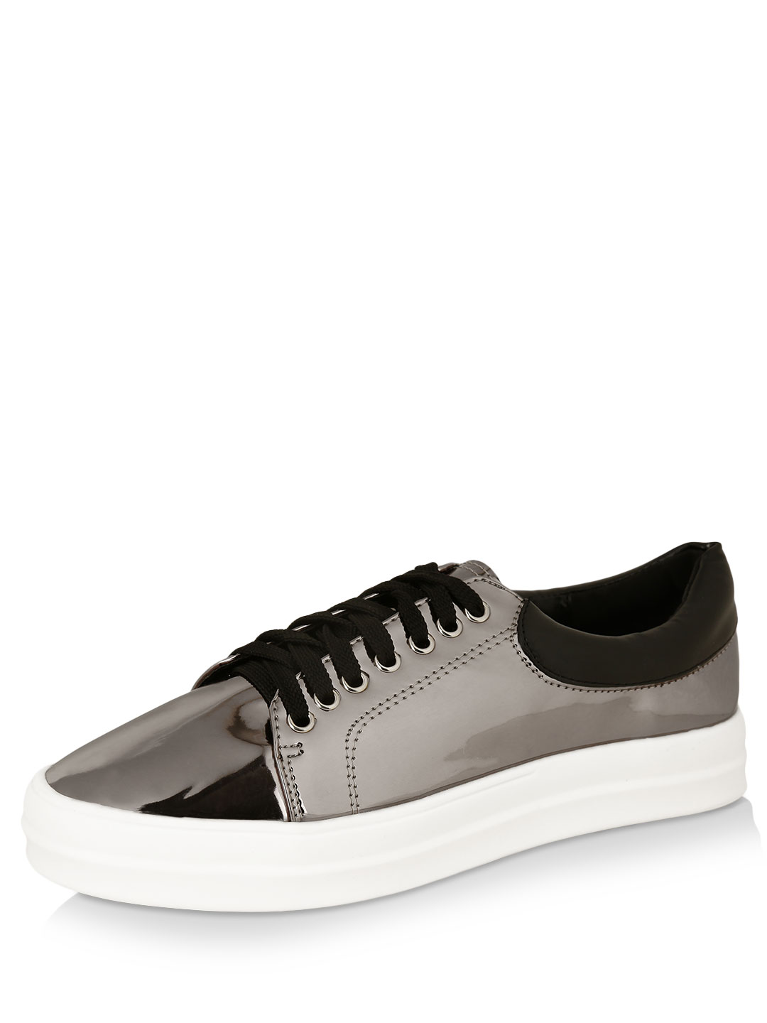 My Foot Couture Pewter Mirror Finish Trainers 1
