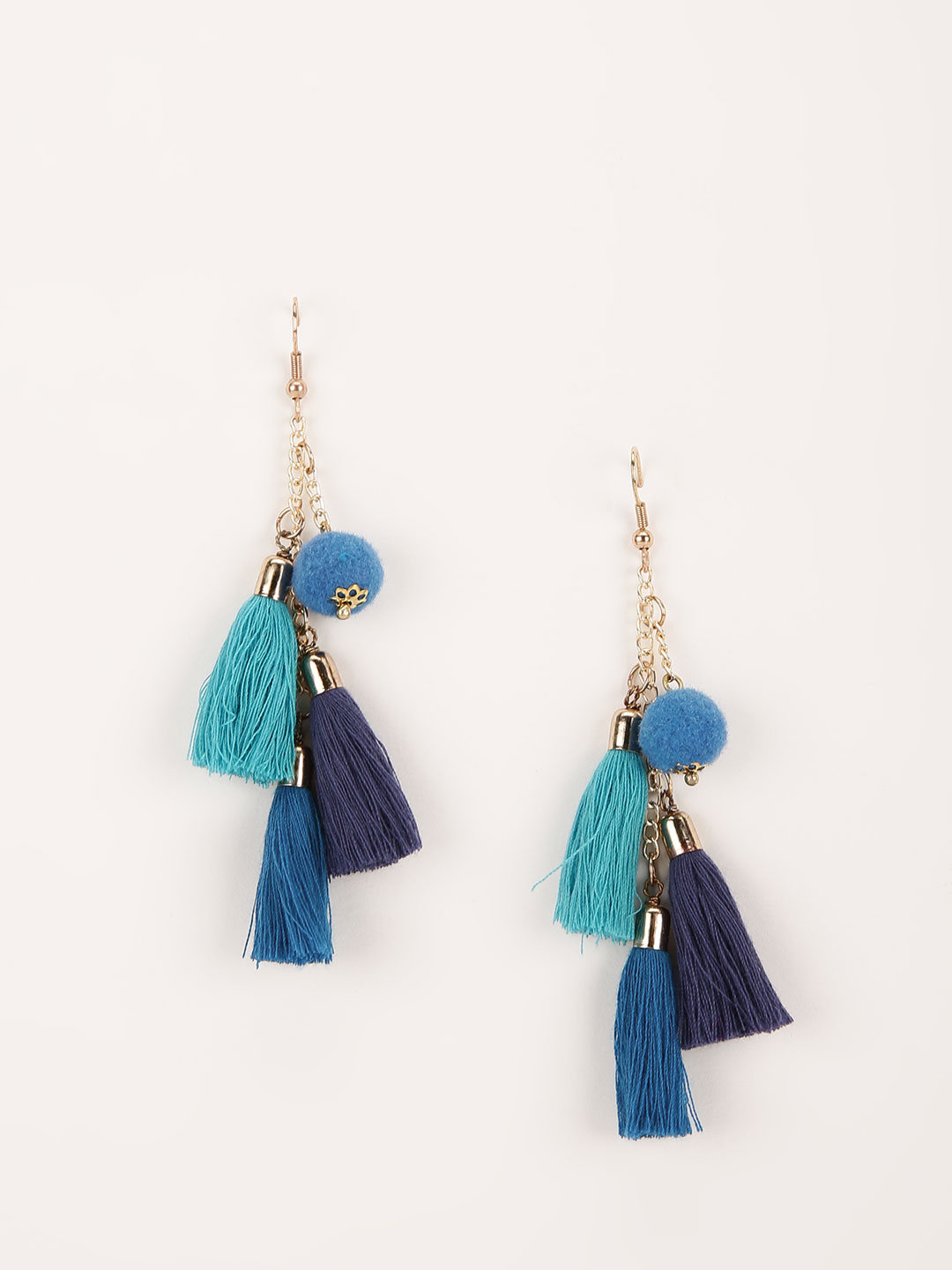 Blueberry Blue Tassle Drop Earring 1