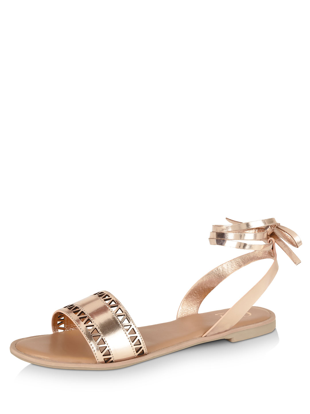 CAi Rose Gold Cut Work Detail Tie Up Sandals 1