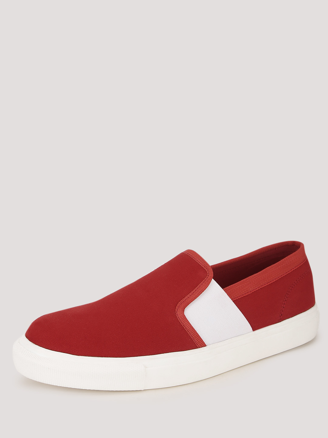 KOOVS Red Slip On Cupsole With Exposed Elastic Shoe 1