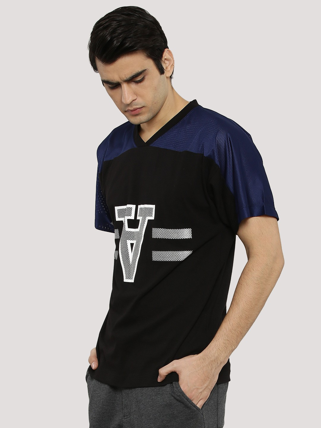 KOOVS BLUE/BLACK Mesh Panel Baseball T-Shirt 1