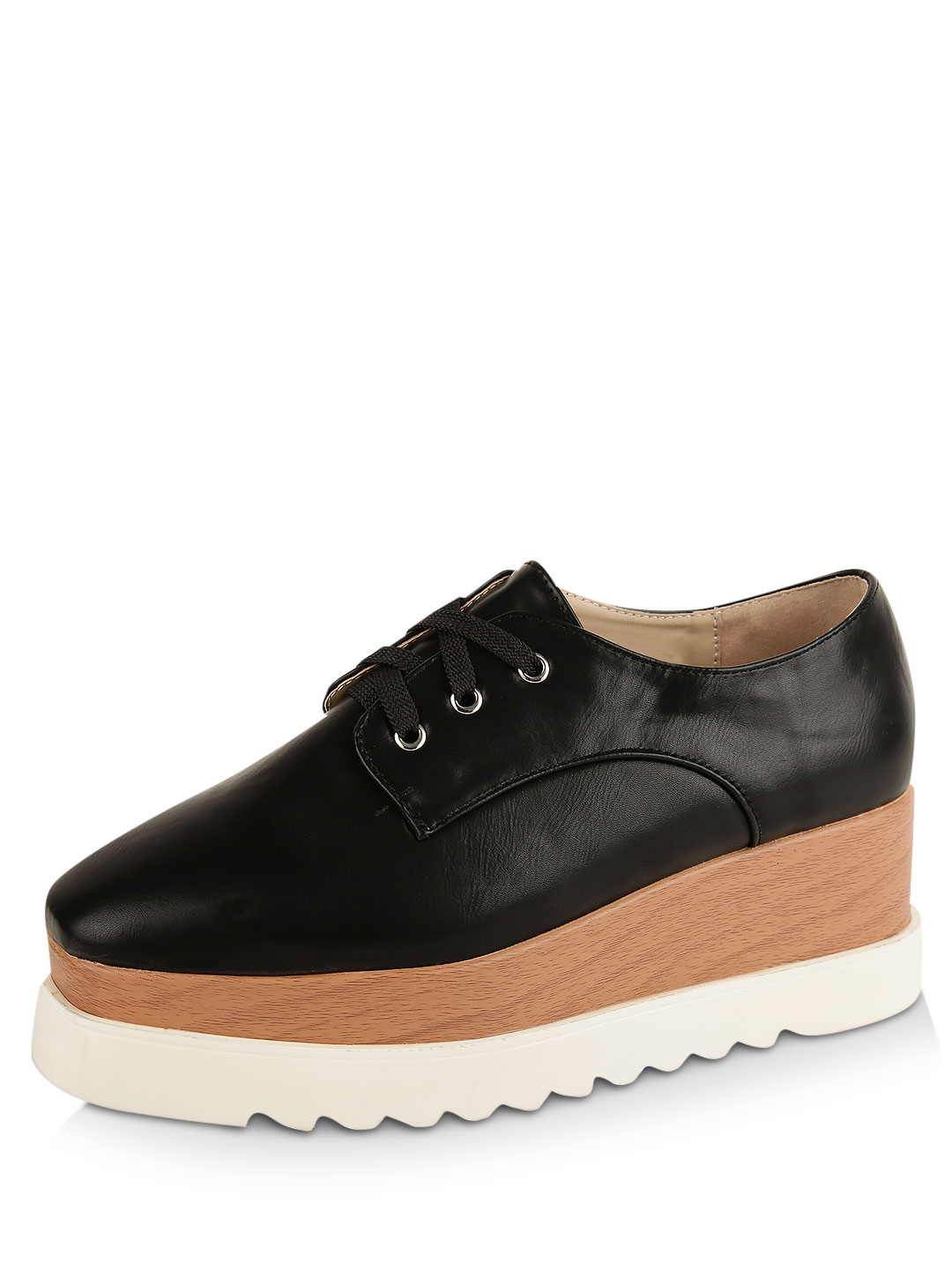My Foot Couture Black Lace Up Shoes With Stacked Sole 1