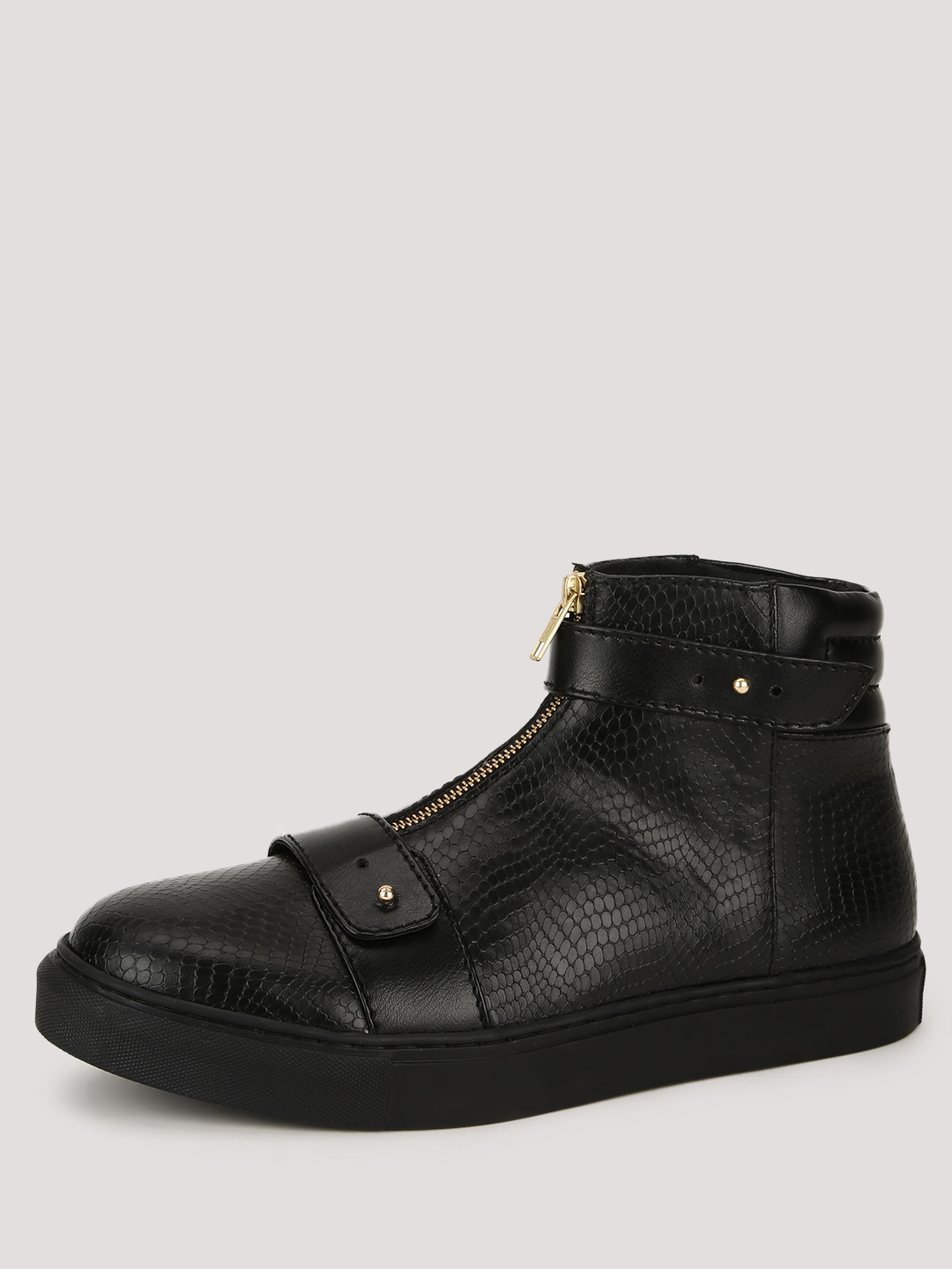 KOOVS Black Central Zip And Strap Ankle Boots 1