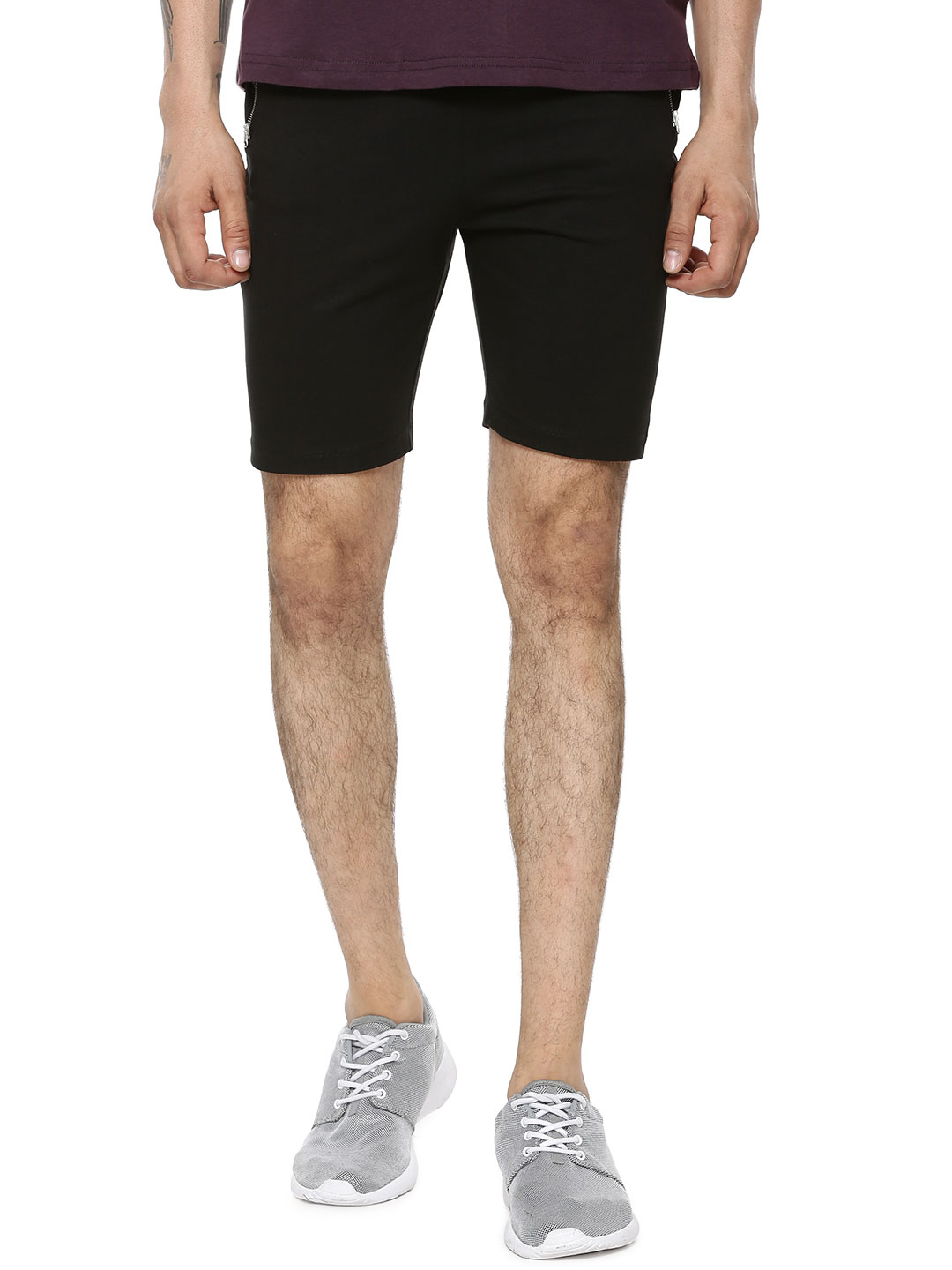 Styx & Stones Black Knitted Shorts With Zip Pockets 1