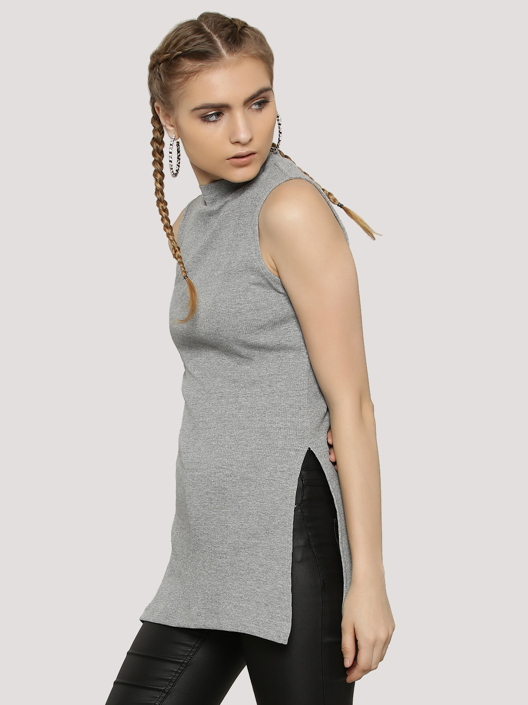 KOOVS Grey Ribbed High Neck Side Split Sleeveless Top 1