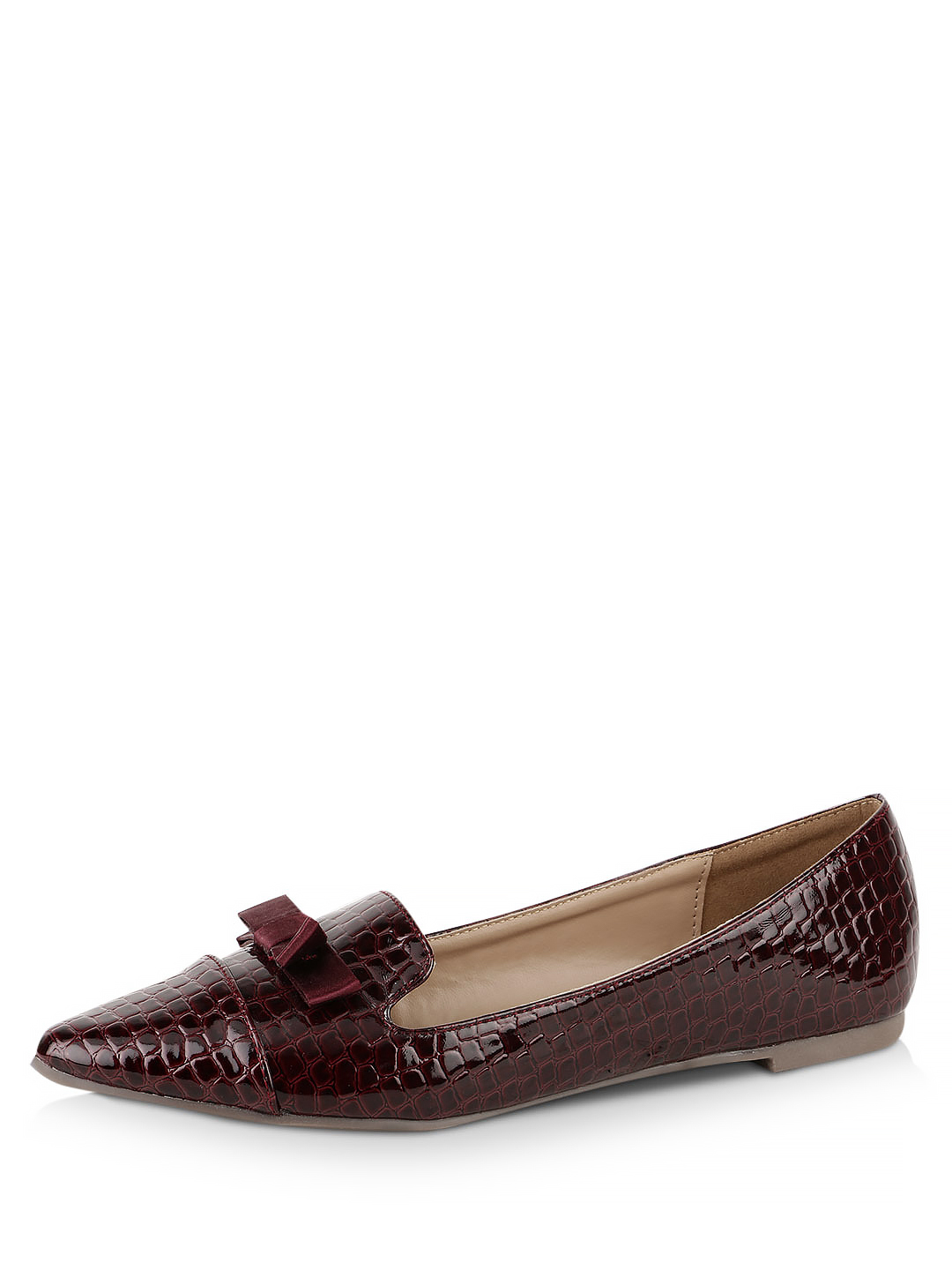 My Foot Couture Marsala Bow Detail Textured Flats 1