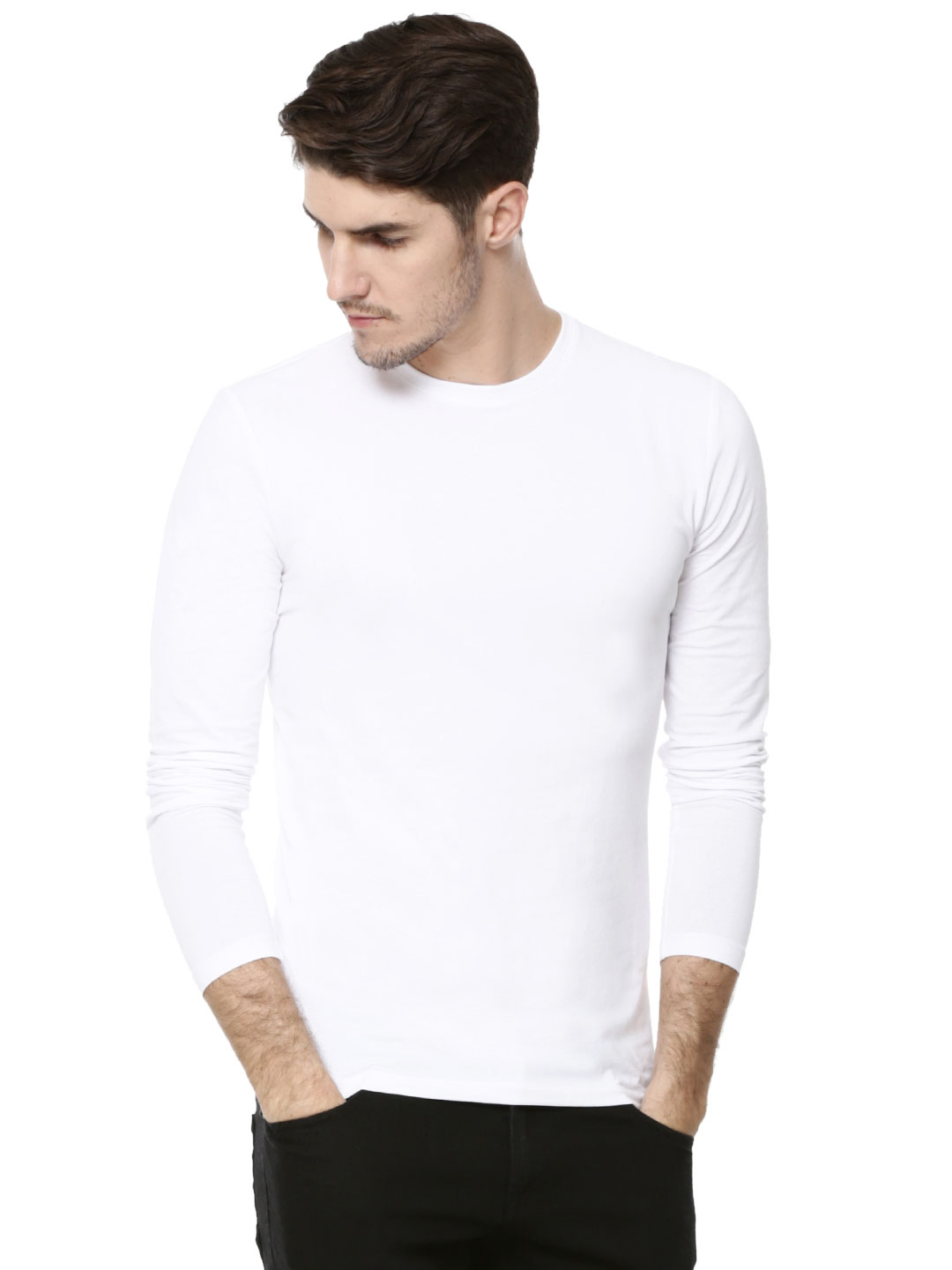 New Look White Basic T-Shirt In Long Sleeves 1