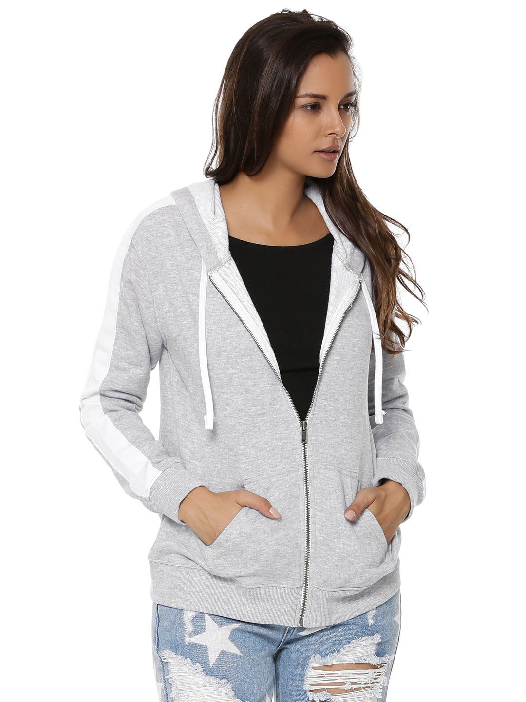 New Look MID GREY Zip Front Hoodie 1