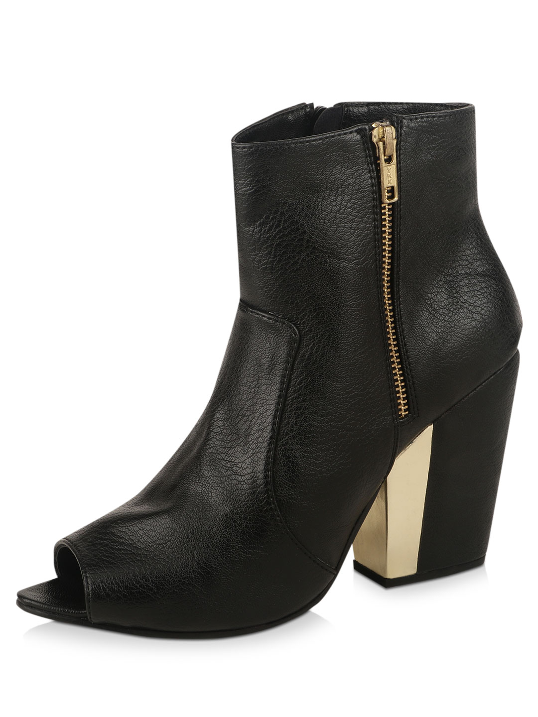 KOOVS Black Pointed Open Toe  Ankle Boots 1