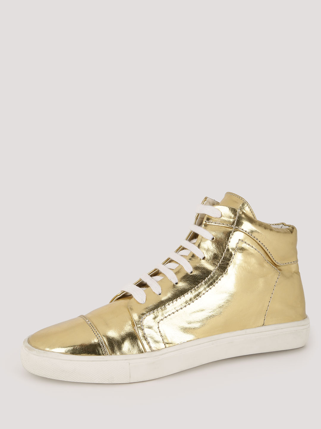KOOVS Gold Ankle Lace Up High Top Trainers 1
